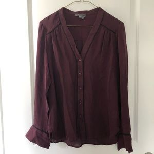 Vince Silk top- burgundy. Size small